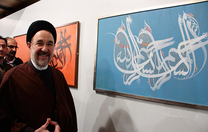 (تصاویر) سیدمحمد خاتمی در نمایشگاه خط
