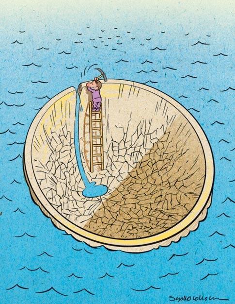 (کاریکاتور) انتقال آب از خزر و خلیج فارس!
