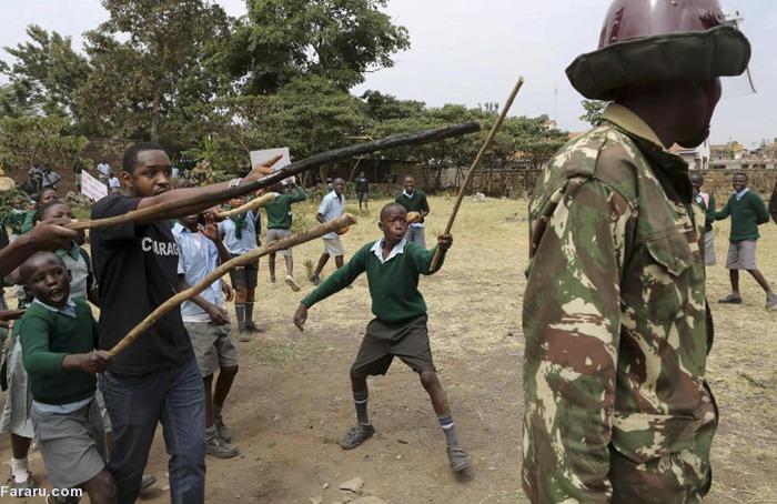 (تصاویر) حمله پلیس کنیا به تجمع دبستانیها