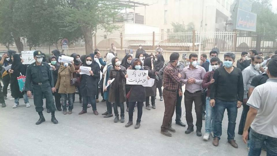 (تصویر) تجمع مقابل استانداری خوزستان