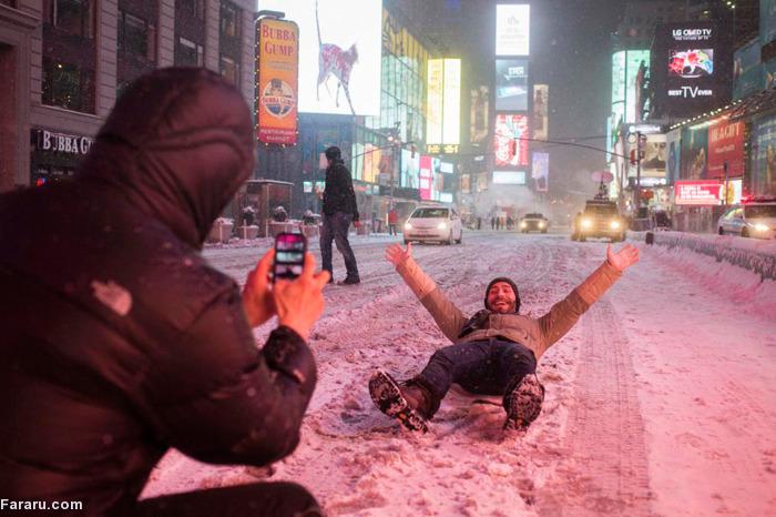 (تصاویر) توفان برف در نیویورک