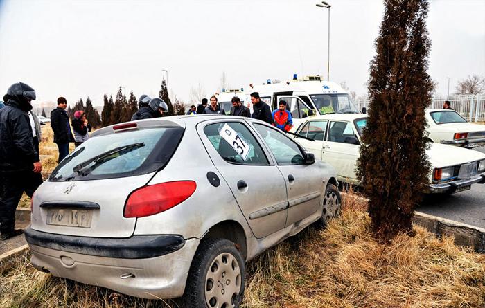 (تصاویر) حادثه در رالی اسلالوم اراک
