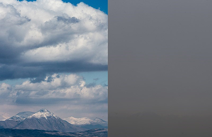 (تصاویر) مقایسه هوای آلوده و پاک تهران