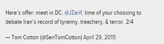 توهین سناتور تام کاتن به ظریف در توئیتر
