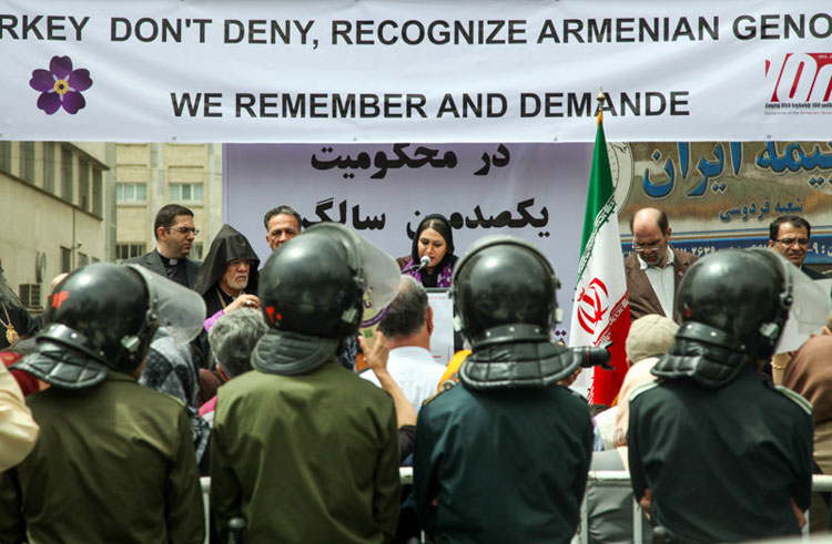 تجمع ارامنه تهران مقابل سفارت ترکیه