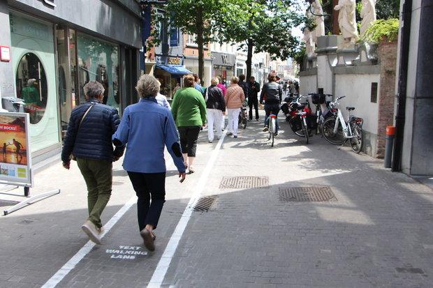 (تصاویر) خطکشی خیابان برای معتادان به موبایل