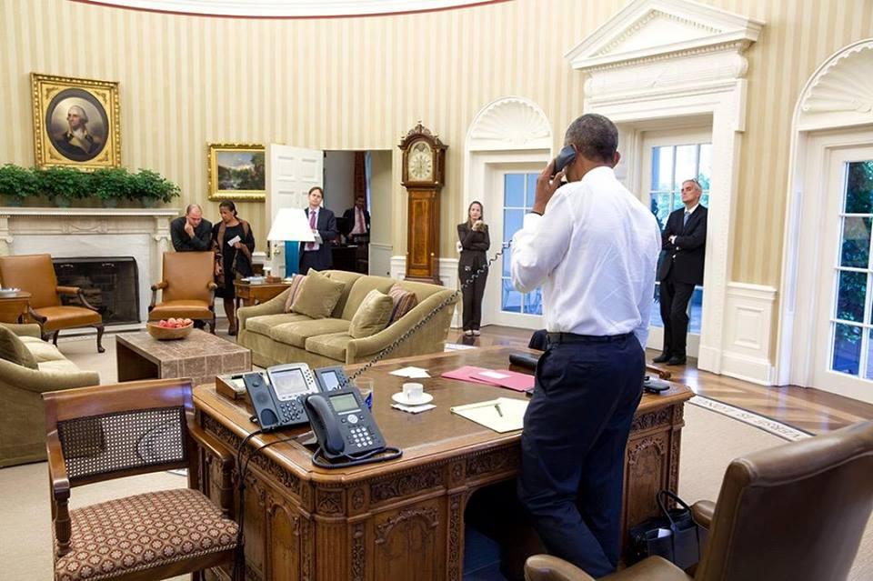 (تصاویر) اوباما هنگام دریافت خبر توافق