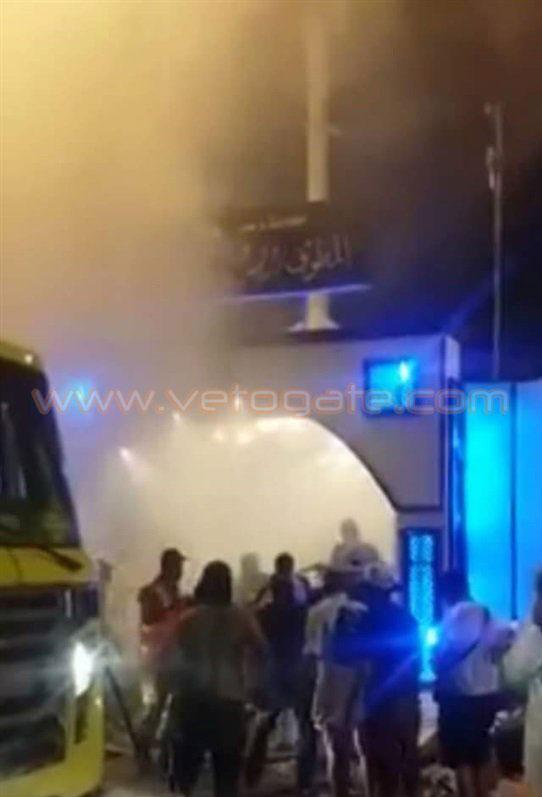 (تصویر) آتش گرفتن چادر زائران مصری در منا