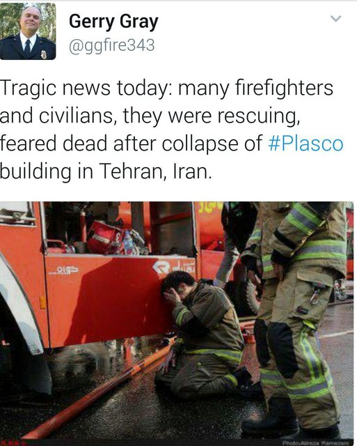 توییت رییس آتش نشانی کالیفرنیا درباره پلاسکو