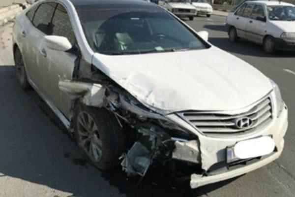 تصویری از خودرو صادقی پس از تصادف شدید