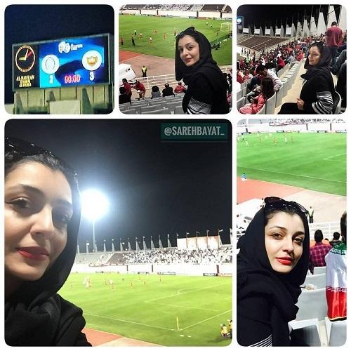 (عکس) هنرپیشه زن ایرانی تماشاگر ویژه بازی پرسپولیس