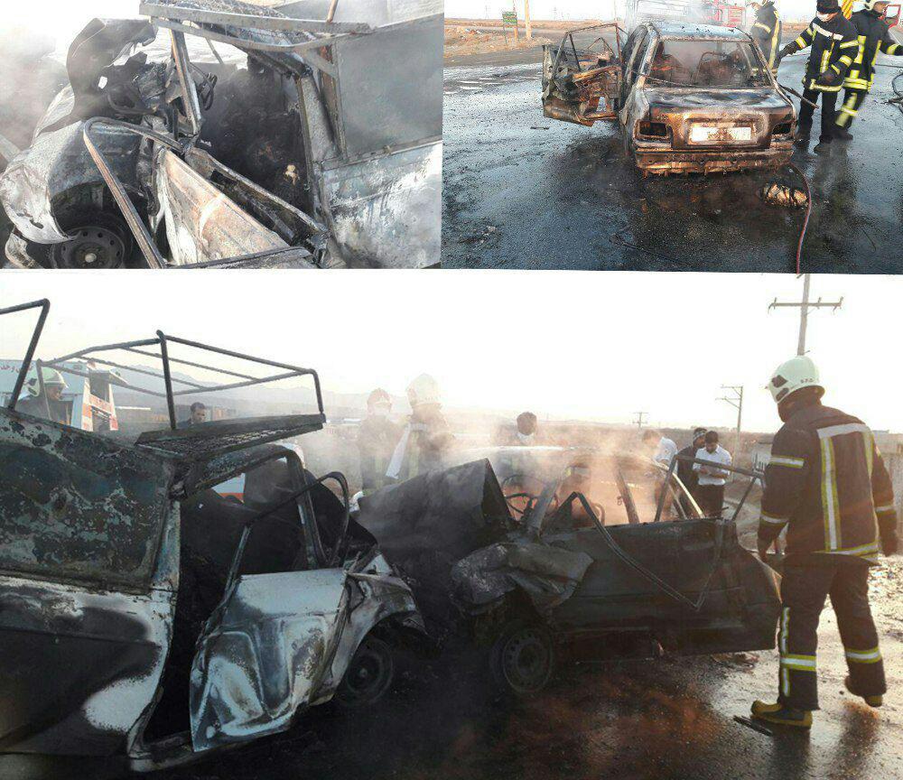 7 کشته در آتش گرفتن 2 خودرو در جاده سبزوار