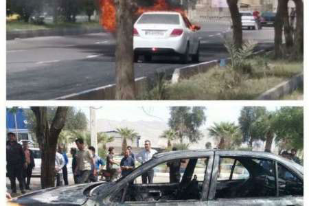 (عکس) راننده معترض دهلرانی خودرو خود را آتش زد