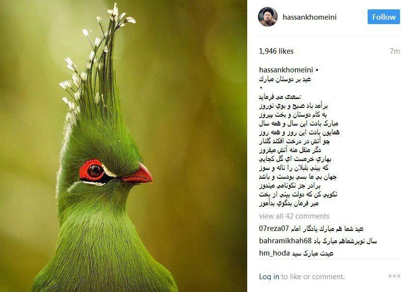 عکس و شعر اینستاگرامی سیدحسن خمینی برای عید نوروز