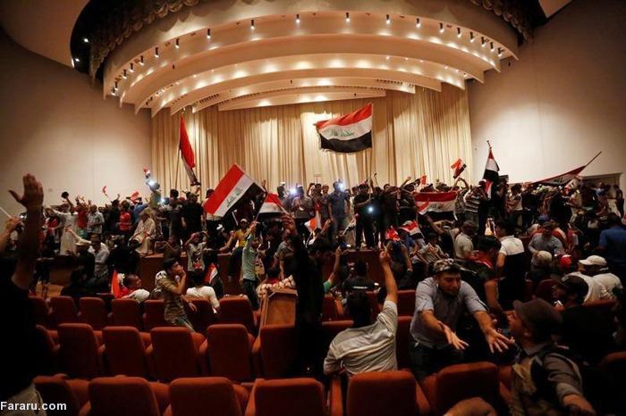 (تصاویر) پارلمان عراق در اشغال معترضان