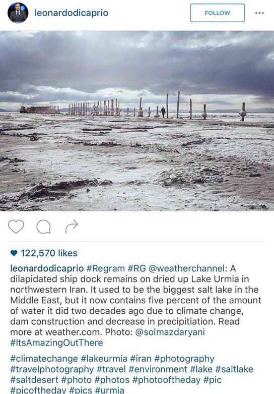 عکس دریاچه ارومیه دریاچه ارومیه بیوگرافی لئوناردو دی کاپریو اینستاگرام لئوناردو دی کاپریو