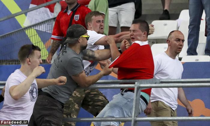 (تصاویر) درگیری شدید هوادارن روسیه و انگلیس