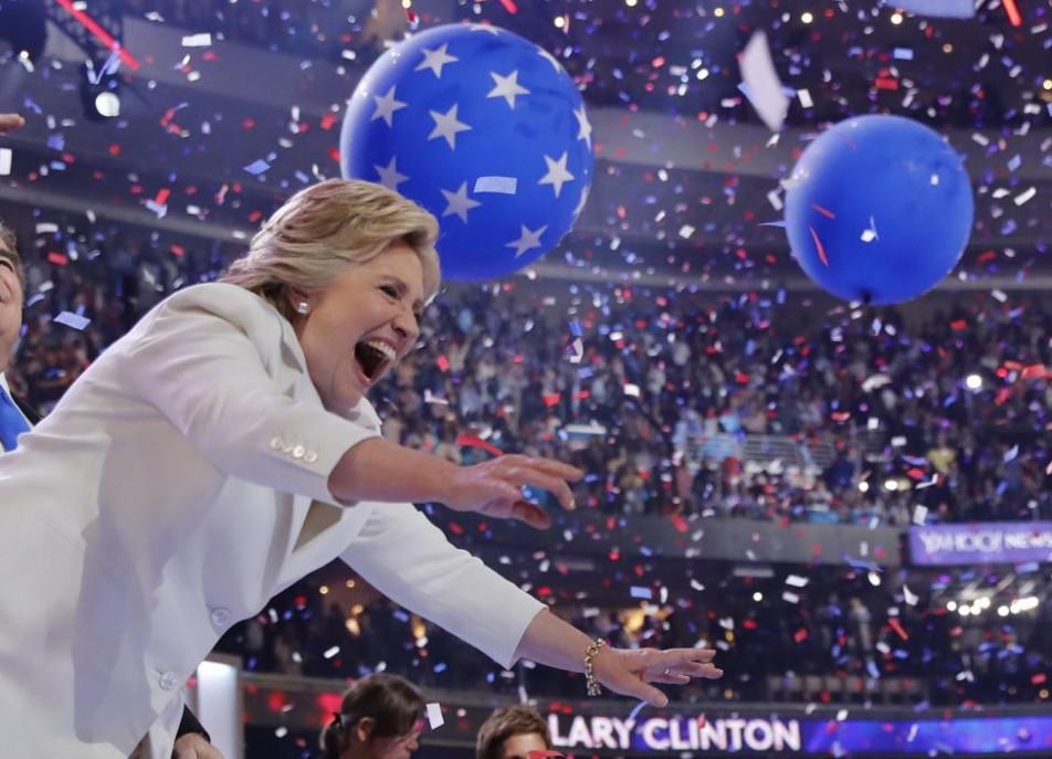 (تصاویر) کلینتون رسما رقیب ترامپ شد