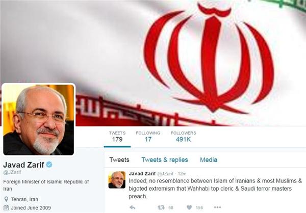 پاسخ توئیتری ظریف به سخنان مفتی عربستان