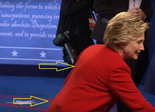 (تصاویر) شیء مرموز زیر لباس کلینتون در مناظره