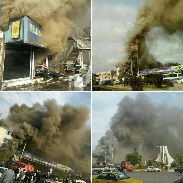 (تصویر) مهار آتش در ساختمان کفش ملی ساری
