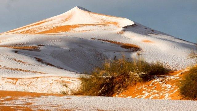 صحرای بزرگ آفریقا سفیدپوش شد