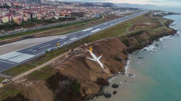 (تصاویر) لغزندگی باند فرودگاه هواپیما را تا لب دریا کشاند!
