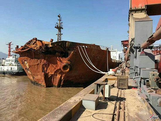 (عکس) کشتی چینی که موجب غرق شدن سانچی شد