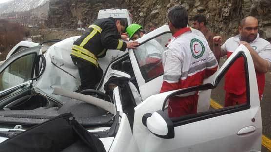 سقوط سنگ بر روی ال 90 یک کشته برجای گذاشت+عکس