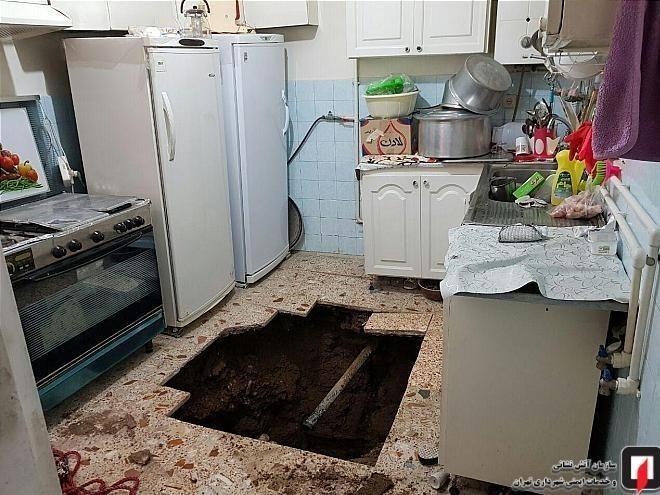 (تصاویر) کف آشپزخانه زن میانسال را بلعید