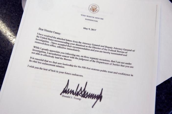 نامه اخراج رئیس افبیآی با امضای ترامپ