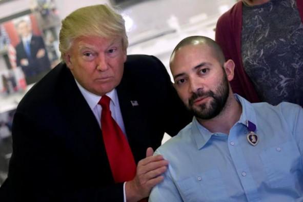 (تصاویر) تقدیر ترامپ از یک مجروح جنگی