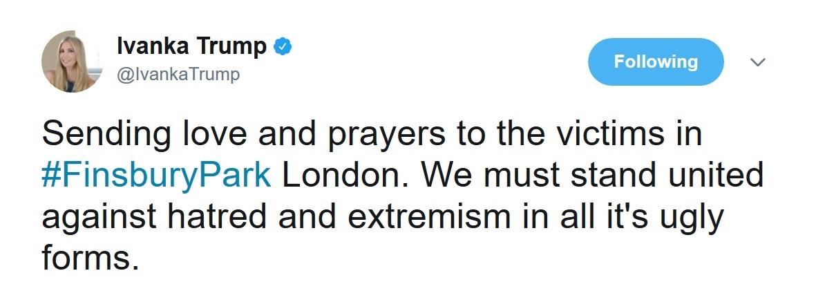 ابراز همبستگی ایوانکا با قربانیان حمله لندن