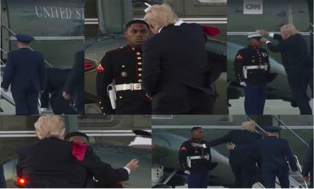 (ویدیو) باد هم ترامپ را ضایع کرد