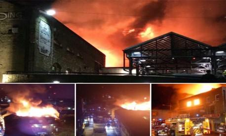 (ویدیو) آتش سوزی مهیب ساختمان لاک مارکت لندن
