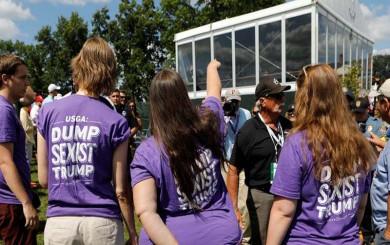 (تصاویر) معترضان ترامپ را در زمینگلف هم رها نکردند