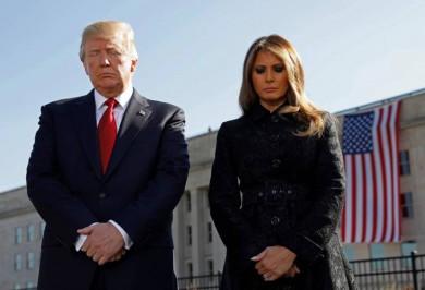 (تصاویر) ترامپ و همسرش در یادبود ۱۱سپتامبر