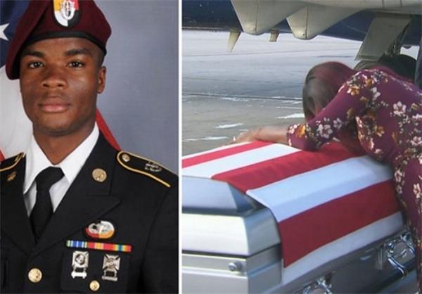 نتیجه تصویری برای ترامپ اشک همسر سرباز کشته شده را درآورد!