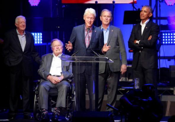 (تصاویر) پنج رئیسجمهور آمریکا در یک کنسرت