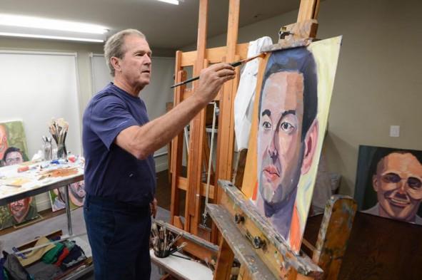 (تصاویر) آتلیه نقاشی جورج دبلیو بوش