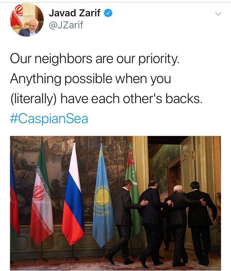 ظریف جالبترین عکس نشست خزر را توئیت کرد ,