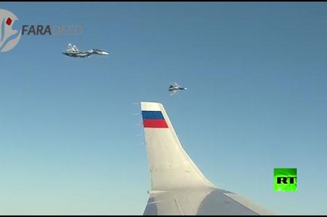 اسکورت هواپیمای پوتین در سفر به سوریه