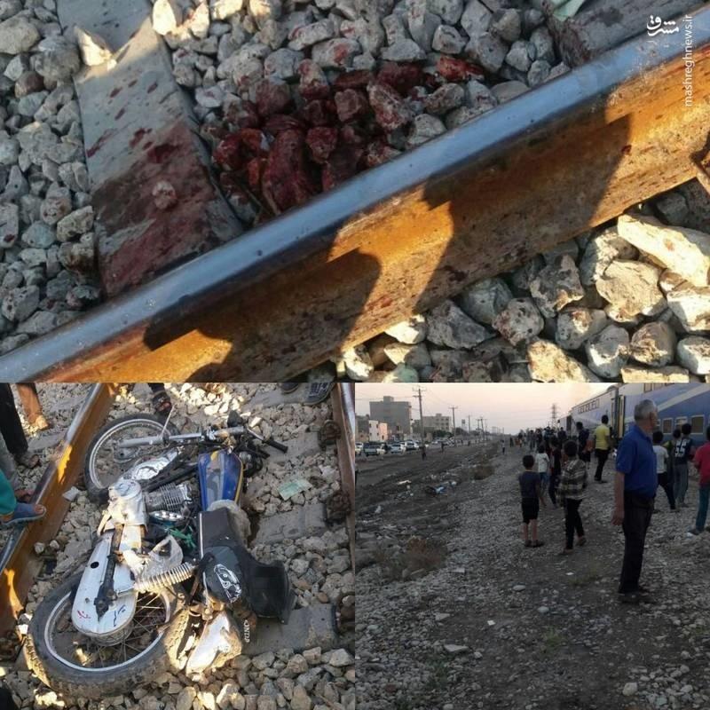(تصاویر) تصادف مرگبار جوان موتورسوار با قطار