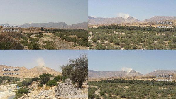 بلند شدن دودسفید از کوه نمک جاشک بوشهر