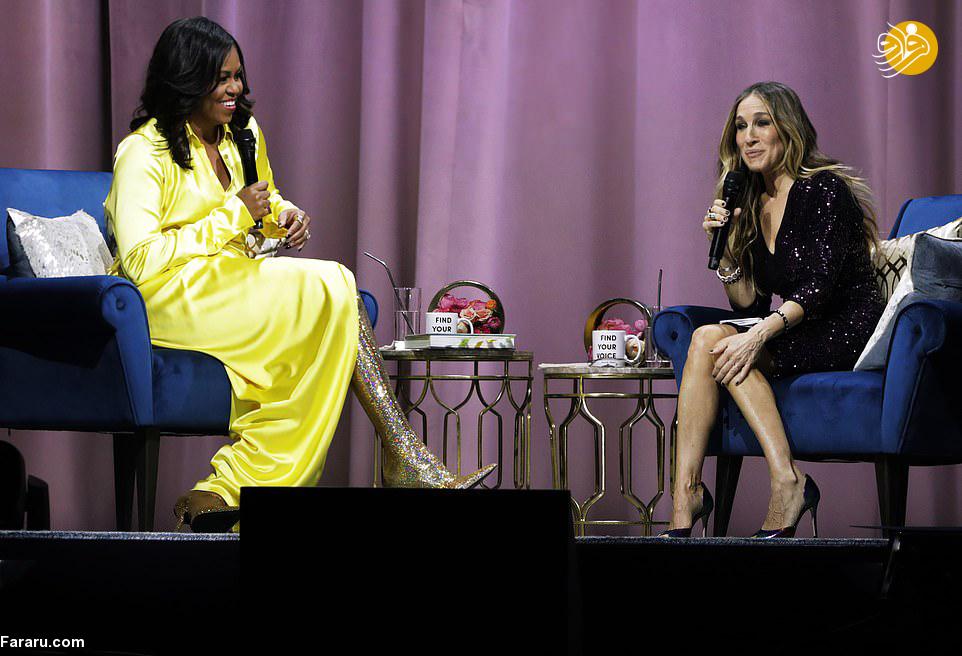 (تصاویر) پوشش پر زرق و برق همسر باراک اوباما