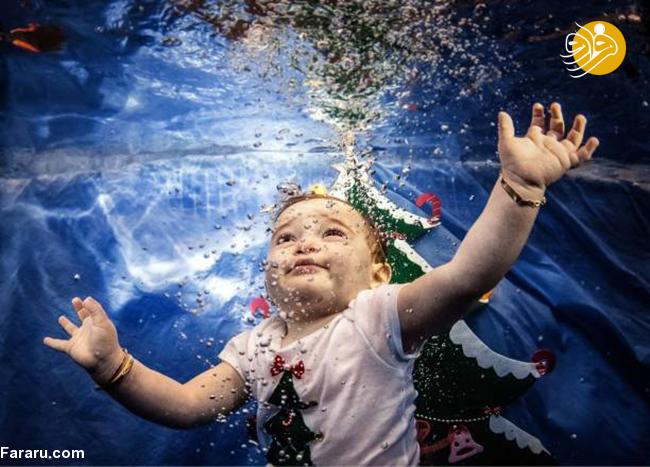 تصاویر جالب شنای نوزادان