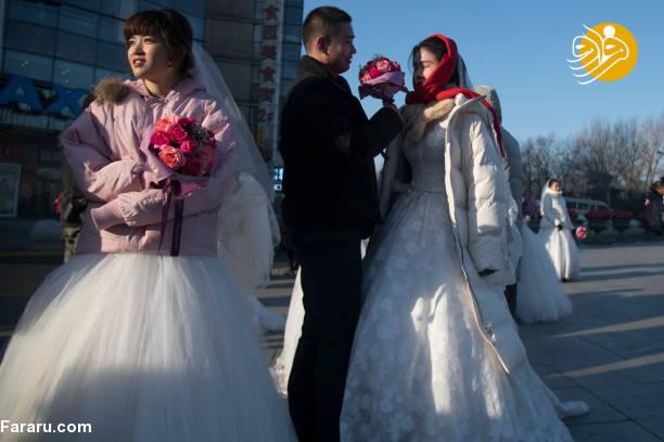 (تصاویر) جشن عروسی در شهر یخی