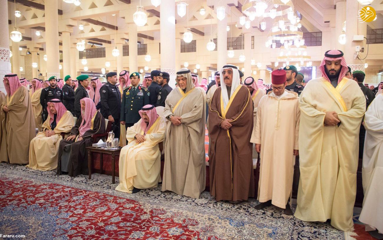 (تصاویر) اندوه ملک سلمان در تشییع جنازه برادرش