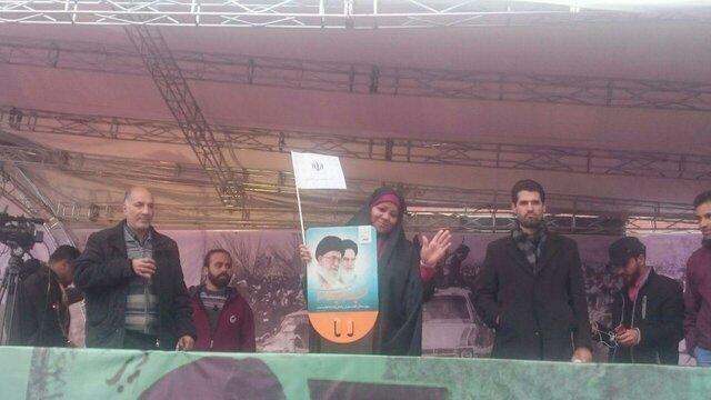 حضور مرضیه هاشمی در راهپیمایی ۲۲ بهمن در تهران