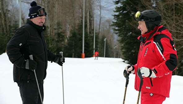 (تصاویر) اسکی بازی پوتین و لوکاشنکو